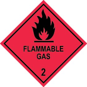 FLAMMABLE GAS 2 100mm x 100mm – 500 per roll