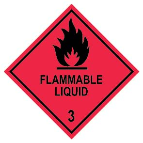 FLAMMABLE LIQUID 3 100mm x 100mm – 500 per roll