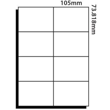 8 Labels per sheet – 105mm x 73.8mm