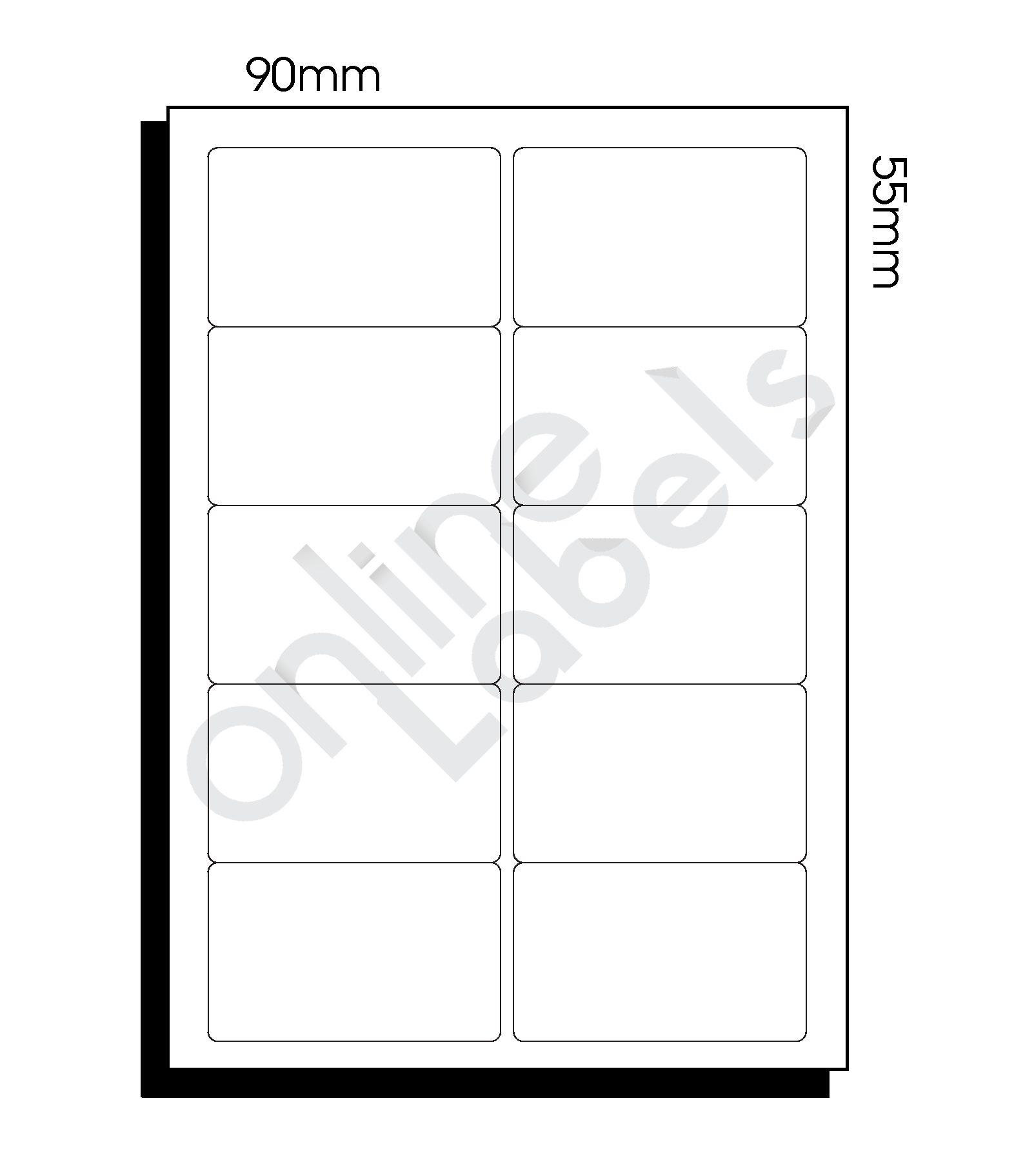 90mm x 55mm – 10 Labels per Sheet