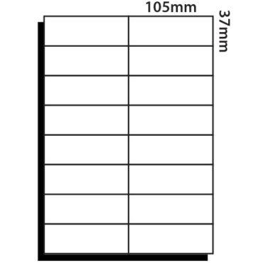 16 Labels per sheet – 105mm x 37mm