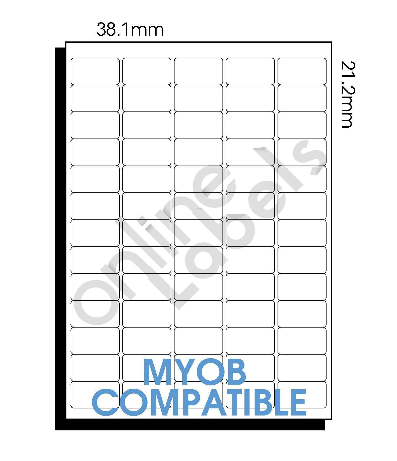 38.1mm x 21.2mm MYOB Compatible – 65 Labels per Sheet