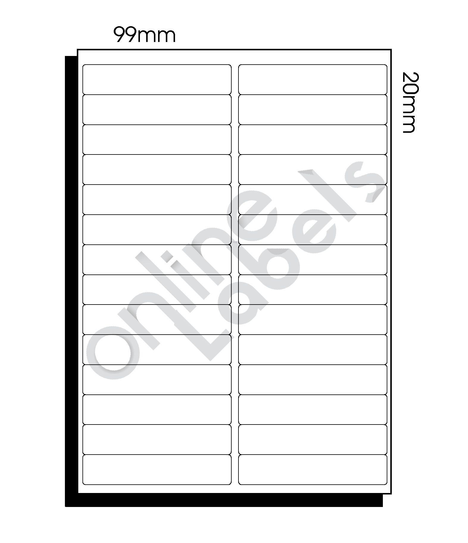 99mm x 20mm (023) – 28 Labels per Sheet
