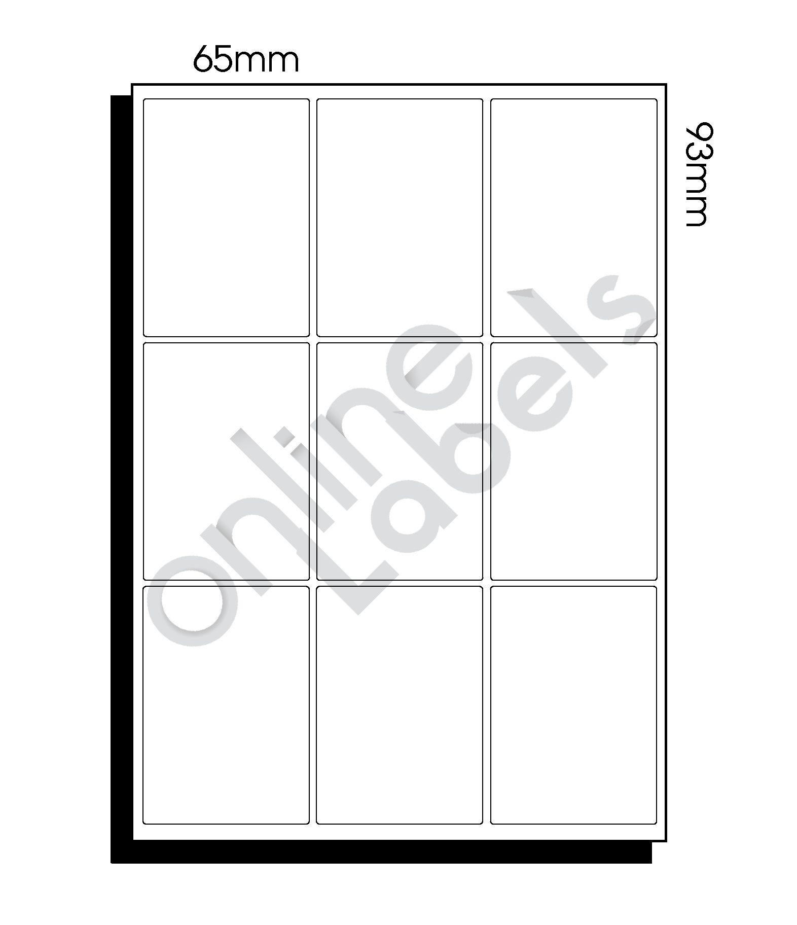 65mm x 93mm (038) – 9 Labels per Sheet