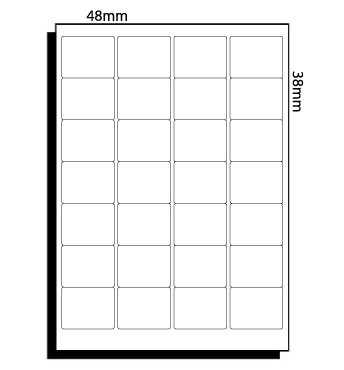 48mm x 38mm (052) – 28 Labels per Sheet