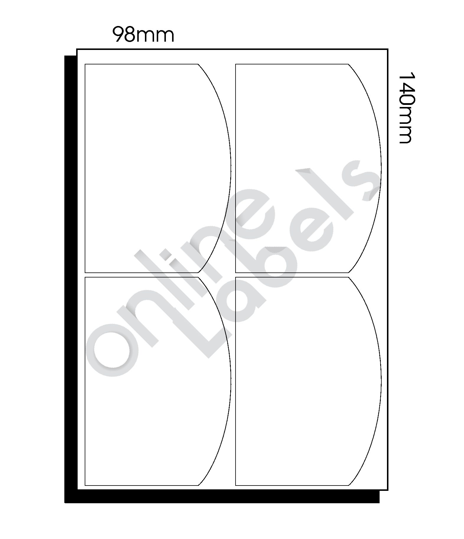 98mm x 140mm (097) – 4 Labels per Sheet