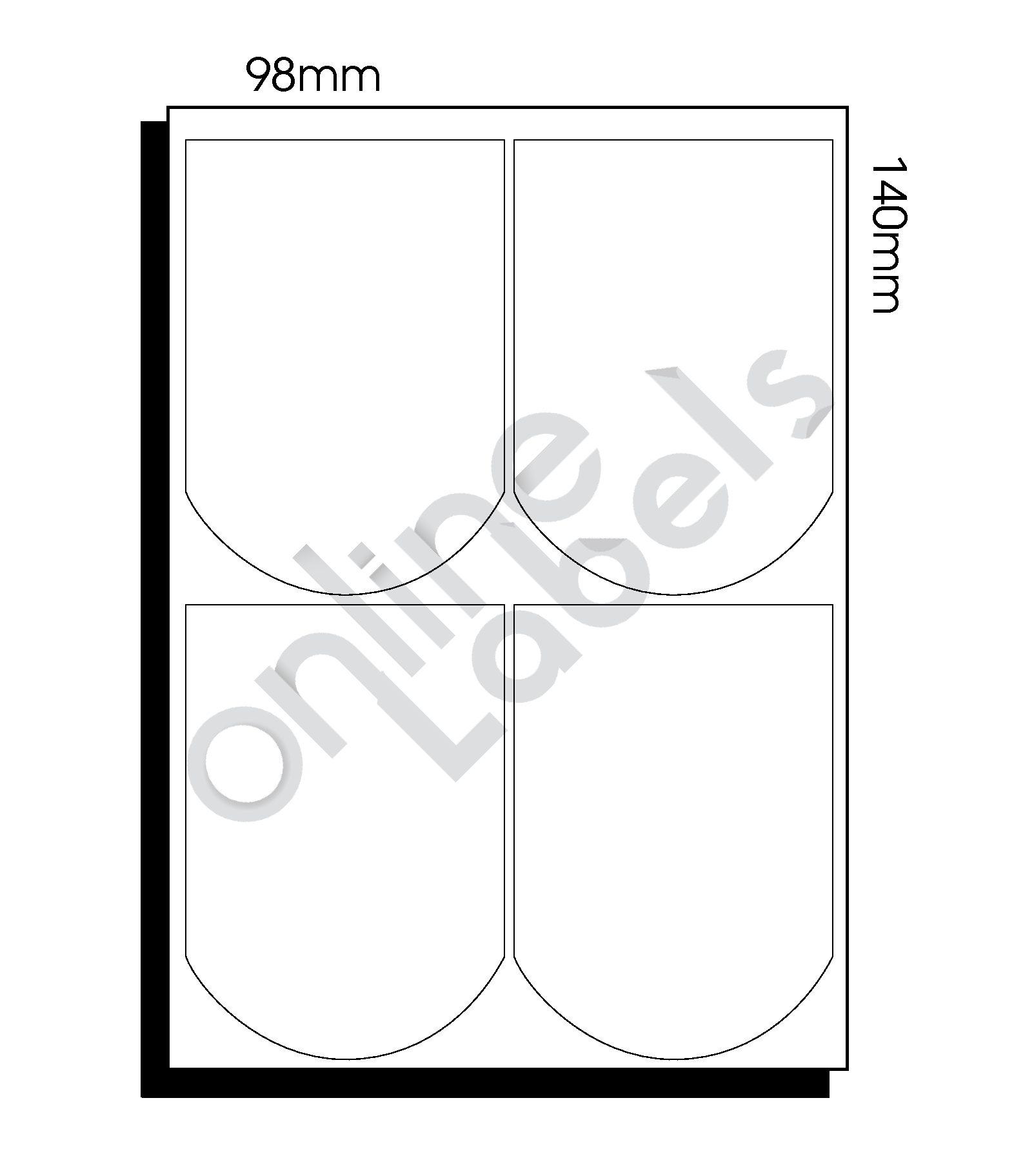 98mm x 140mm (098) – 4 Labels per Sheet