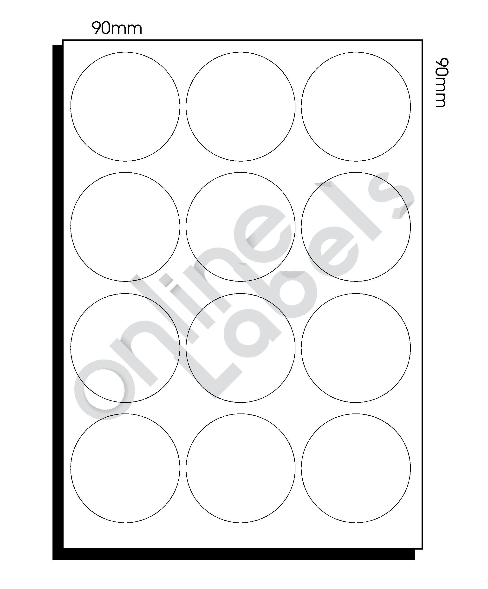 A3 Diecut Labels – 90mm Circle