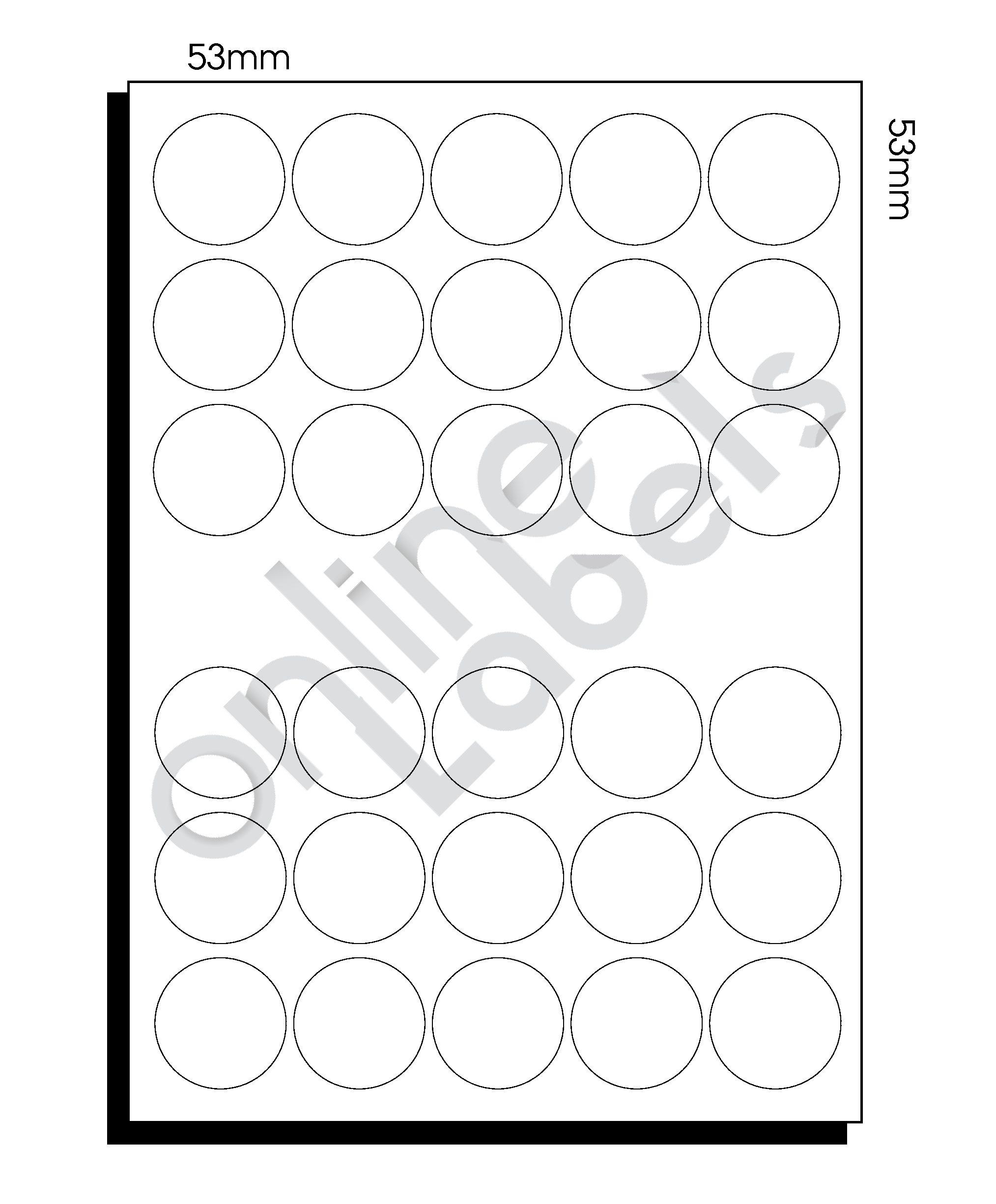 A3 Diecut Labels – 53mm Circle