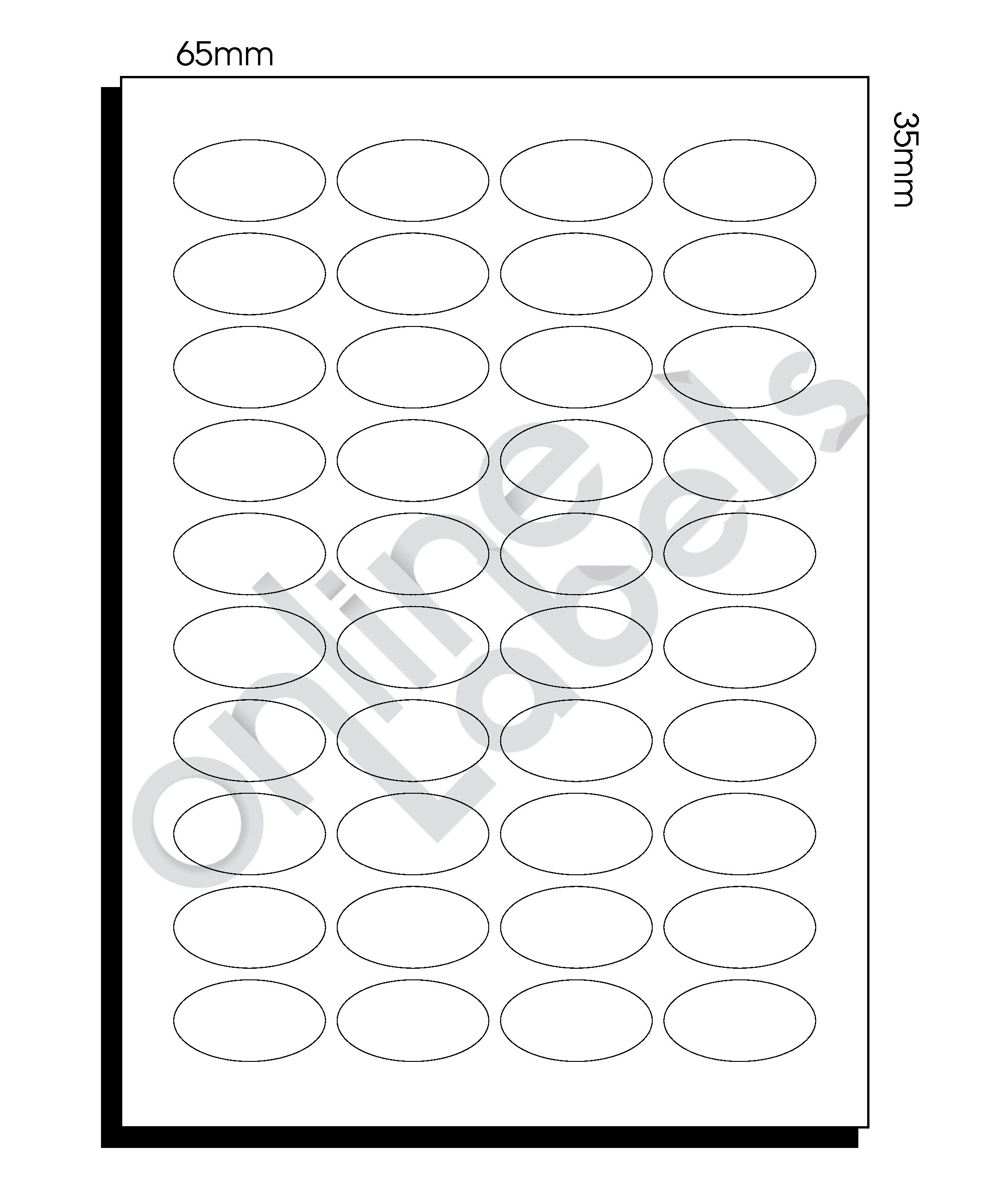 SR-A3 Diecut Labels – 65mm x 35mm Oval