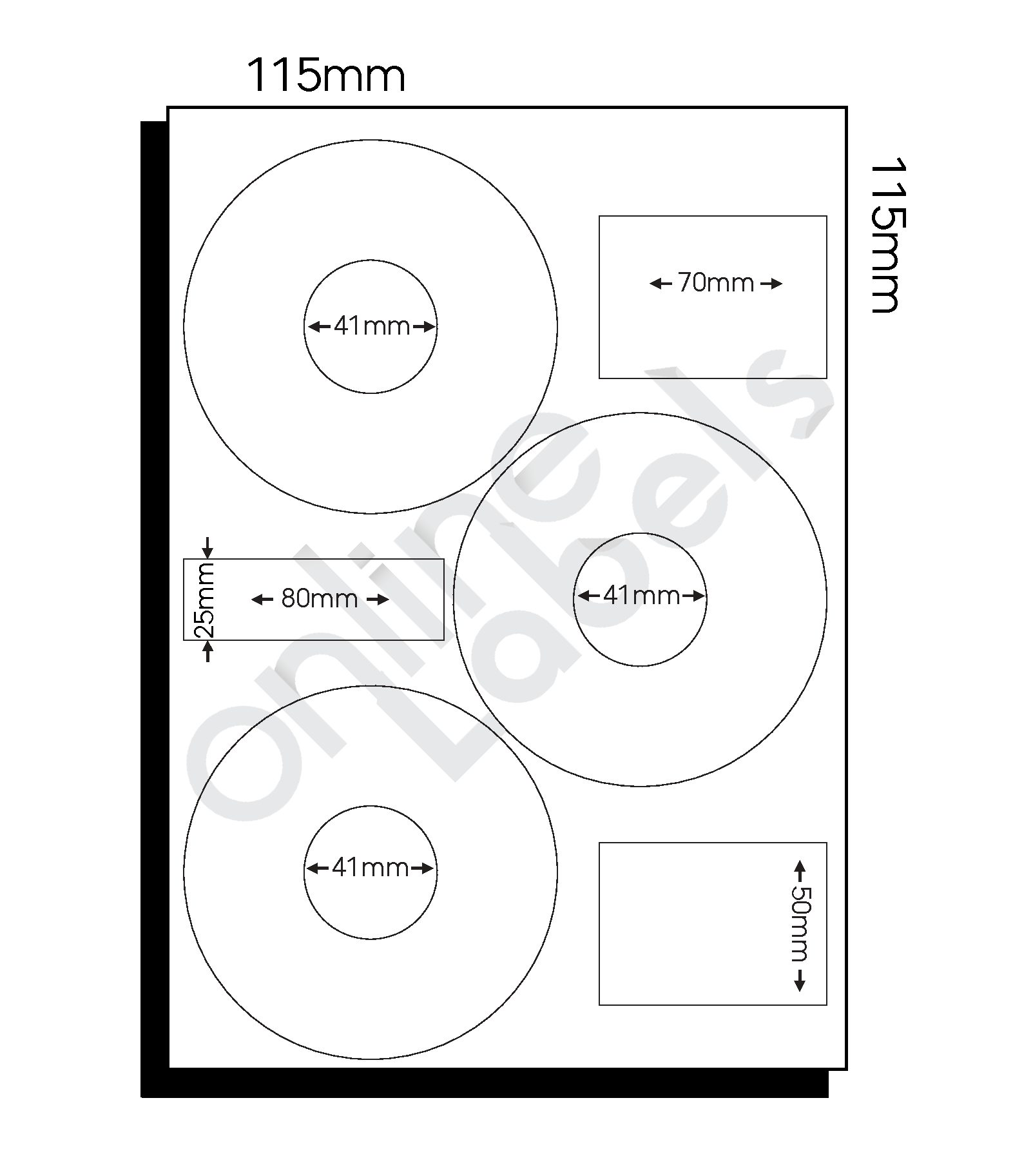 115mm dia CD Labels – 3 Labels per Sheet