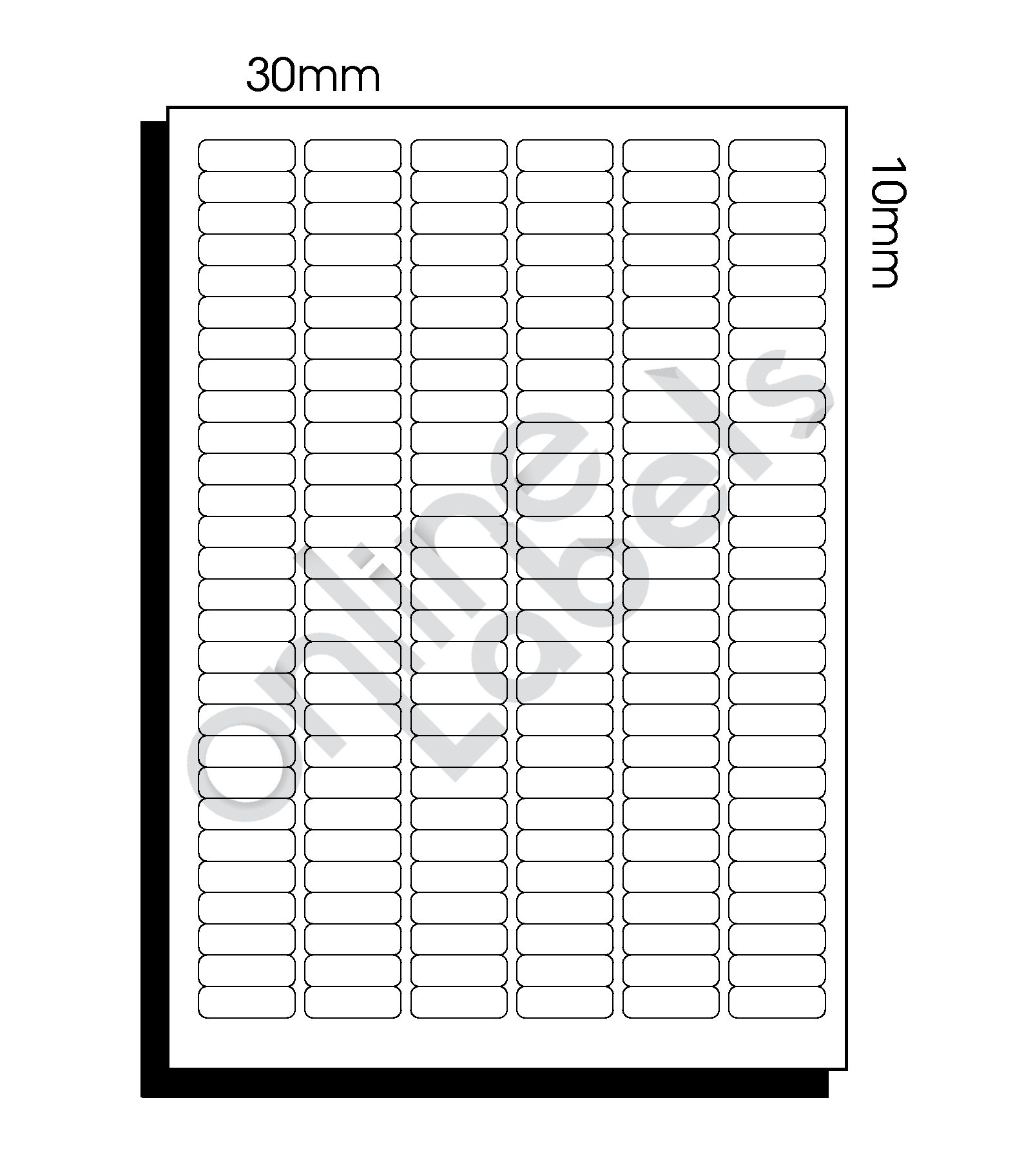 30mm x 10mm (148) – 168 Labels per Sheet