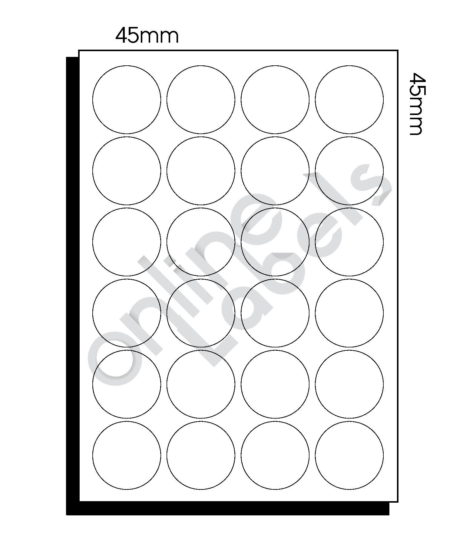 45mm dia (153) – 24 Labels per Sheet
