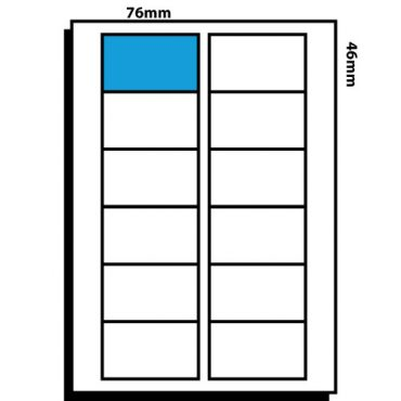 12 Labels per Sheet – 76mm x 46mm VHS Face Labels