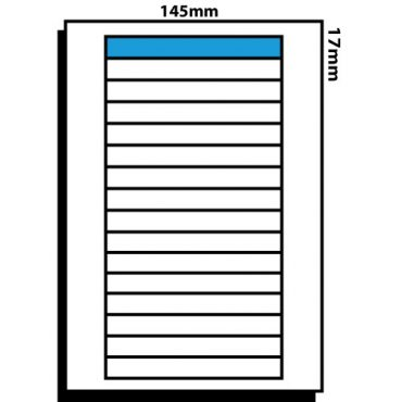 16 Labels per Sheet- 145mm x 17mm VHS Spine Labels