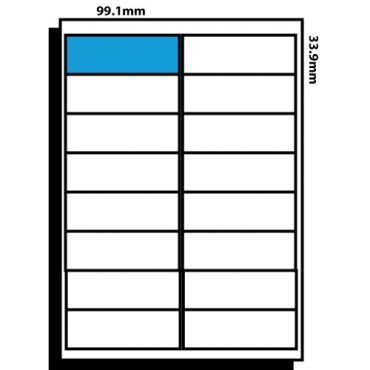 16 Labels per page – 99.1mm x 33.9mm