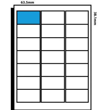 21 Labels per page – 63.5mm x 38.1mm