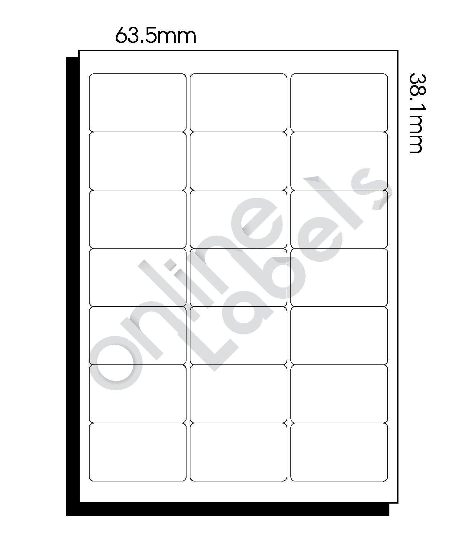 63.5mm x 38.1mm – 21 Labels per Sheet