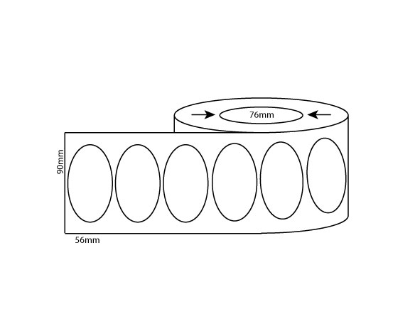 90mm x 56mm Oval – Thermal Direct & Thermal Transfer